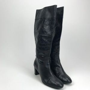 Coach Gail Tall Knee High Boots Black CC Sz 11B